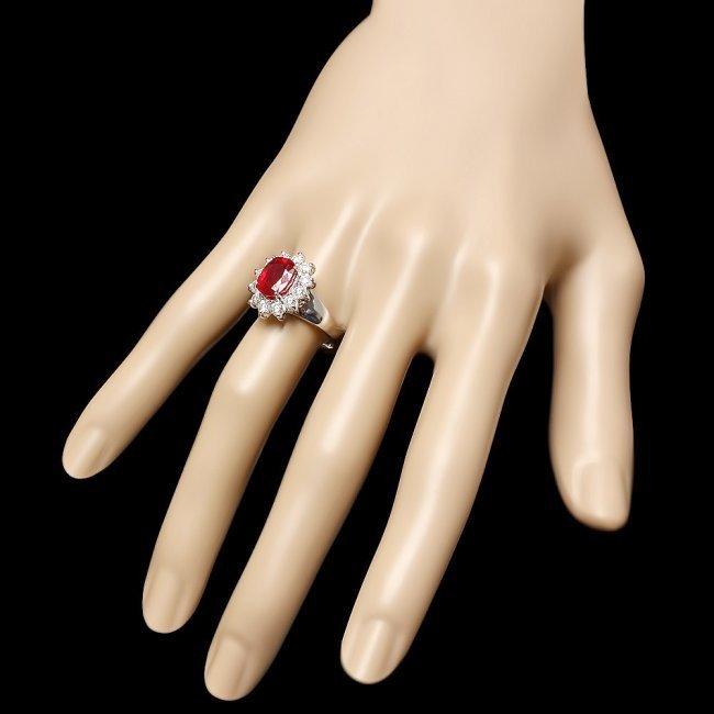 14k White Gold 3.40ct Ruby 1.00ct Diamond Ring - 3