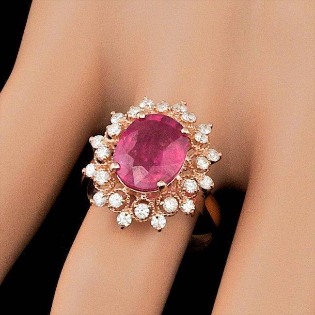 14k Rose Gold 4.00ct Ruby 0.65ct Diamond Ring - 4