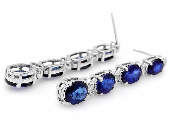 14k Gold 6ct Sapphire .35ct Diamond Earrings - 2