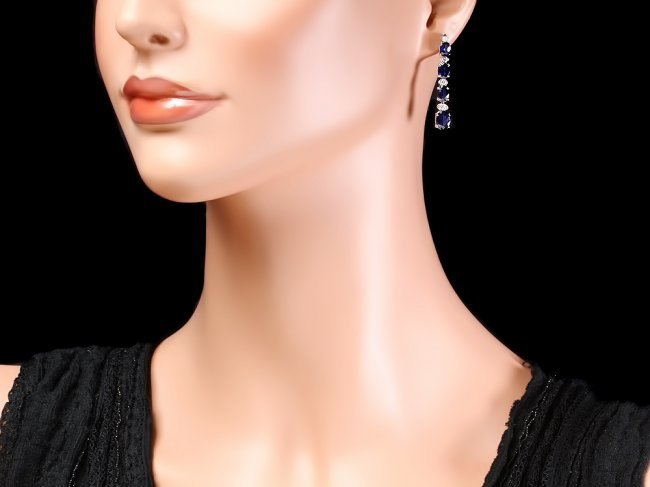 14k Gold 6ct Sapphire .35ct Diamond Earrings - 4