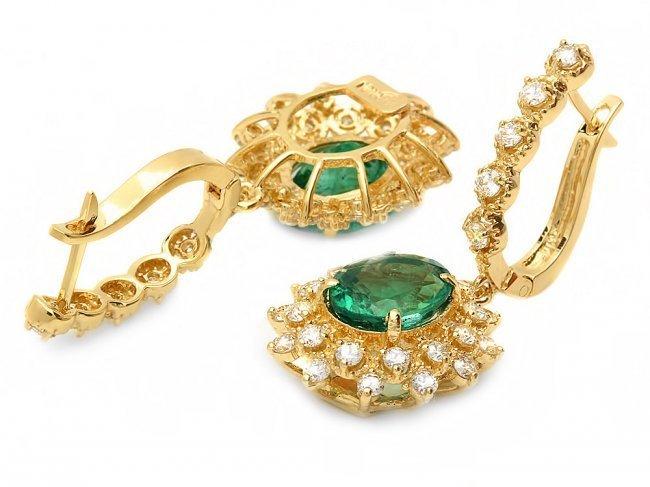 14k Gold 4ct Emerald 1.55ct Diamond Earrings - 2