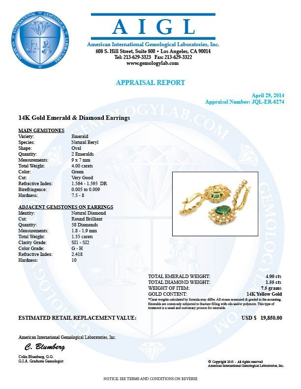 14k Gold 4ct Emerald 1.55ct Diamond Earrings - 5