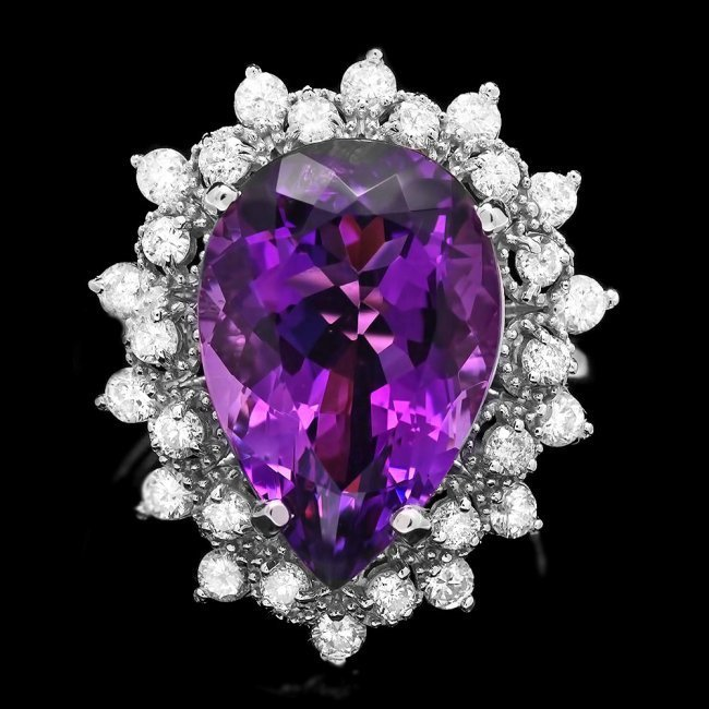 14k Gold 7.40ct Amethyst 0.95ct Diamond Ring