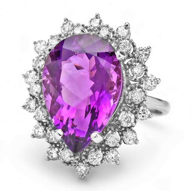 14k Gold 7.40ct Amethyst 0.95ct Diamond Ring - 2