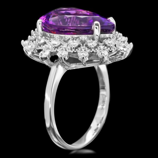 14k Gold 7.40ct Amethyst 0.95ct Diamond Ring - 3