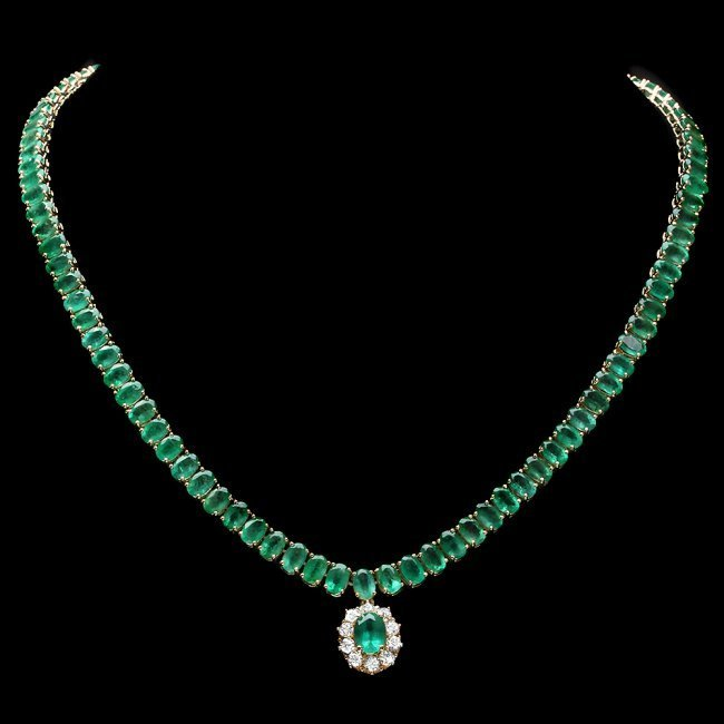 14k Gold 41.75ct Emerald 0.95ct Diamond Necklace