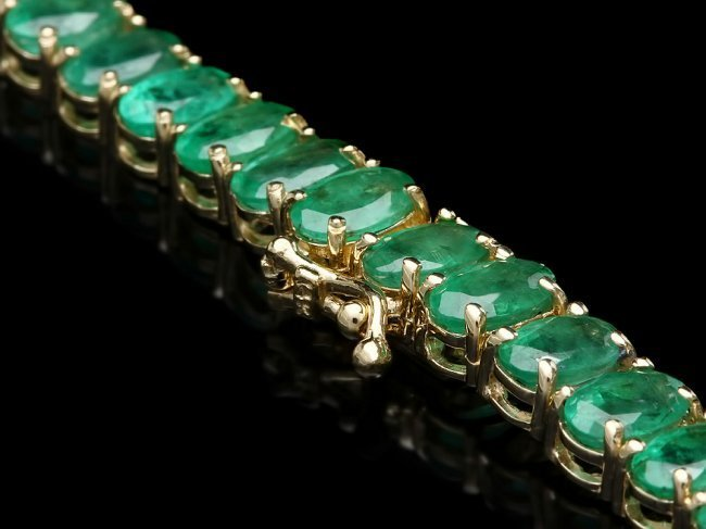 14k Gold 41.75ct Emerald 0.95ct Diamond Necklace - 4