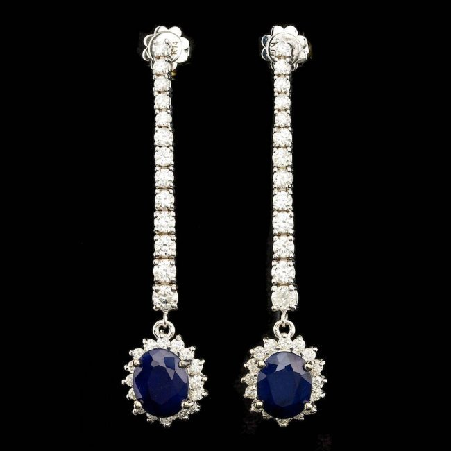 14k Gold 6.00ct Sapphire 2.90ct Diamond Earrings