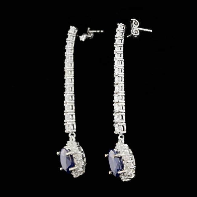 14k Gold 6.00ct Sapphire 2.90ct Diamond Earrings - 2