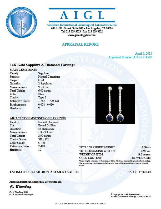 14k Gold 6.00ct Sapphire 2.90ct Diamond Earrings - 5