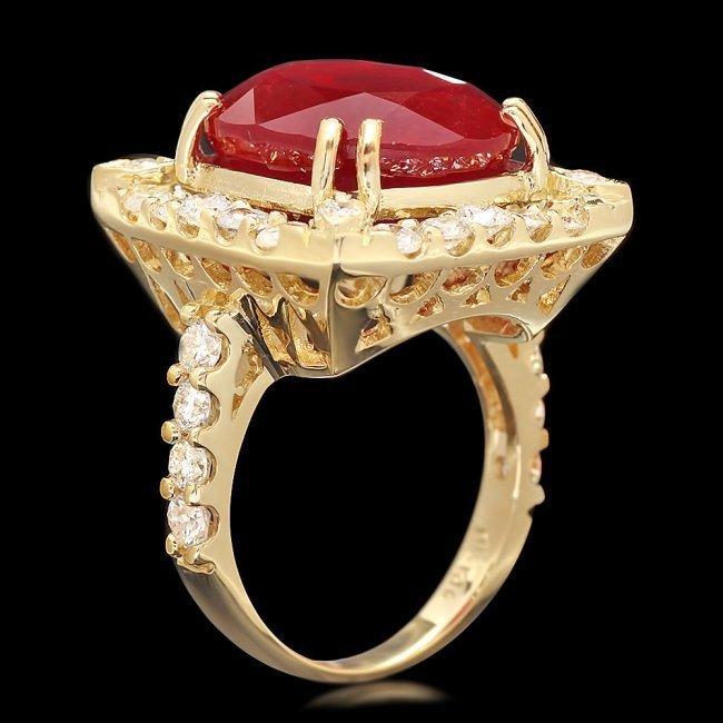 14k Yellow Gold 16.35ct Ruby 2.20ct Diamond Ring