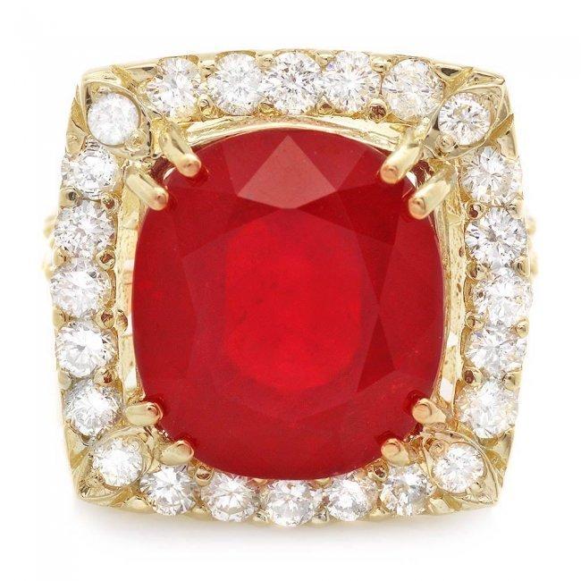 14k Yellow Gold 16.35ct Ruby 2.20ct Diamond Ring - 2
