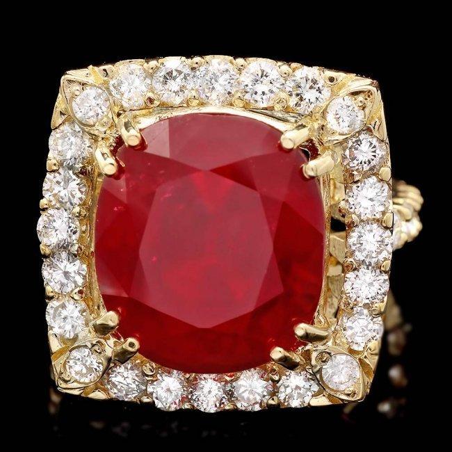 14k Yellow Gold 16.35ct Ruby 2.20ct Diamond Ring - 3