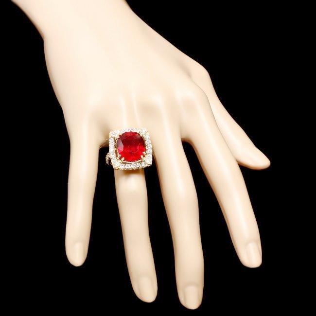 14k Yellow Gold 16.35ct Ruby 2.20ct Diamond Ring - 4