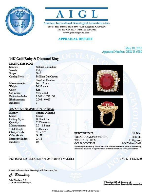 14k Yellow Gold 16.35ct Ruby 2.20ct Diamond Ring - 5