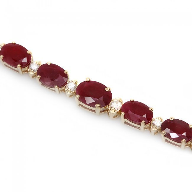 14k Gold 15.00ct Ruby 0.60ct Diamond Bracelet - 2