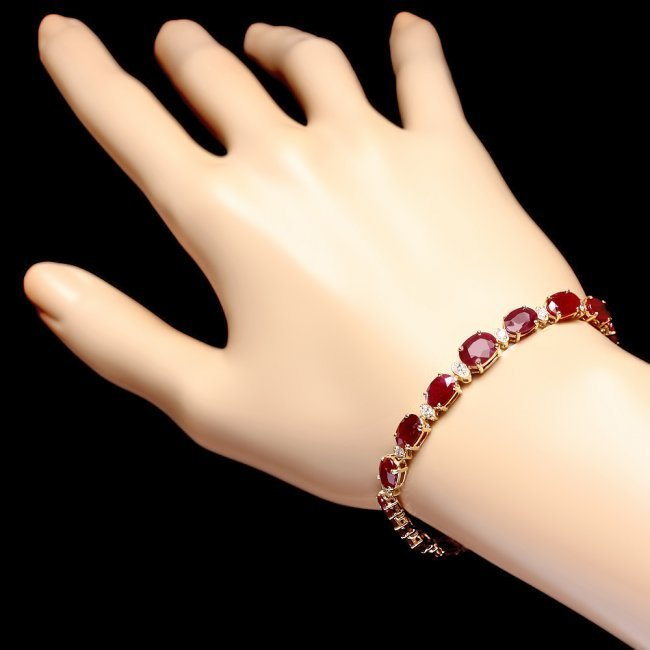 14k Gold 15.00ct Ruby 0.60ct Diamond Bracelet - 5
