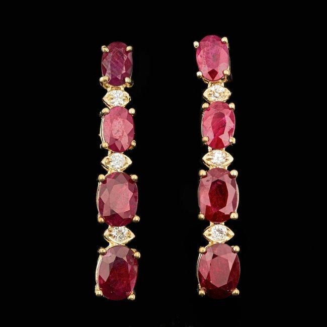 14k Gold 7.00ct Ruby 0.20ct Diamond Earrings