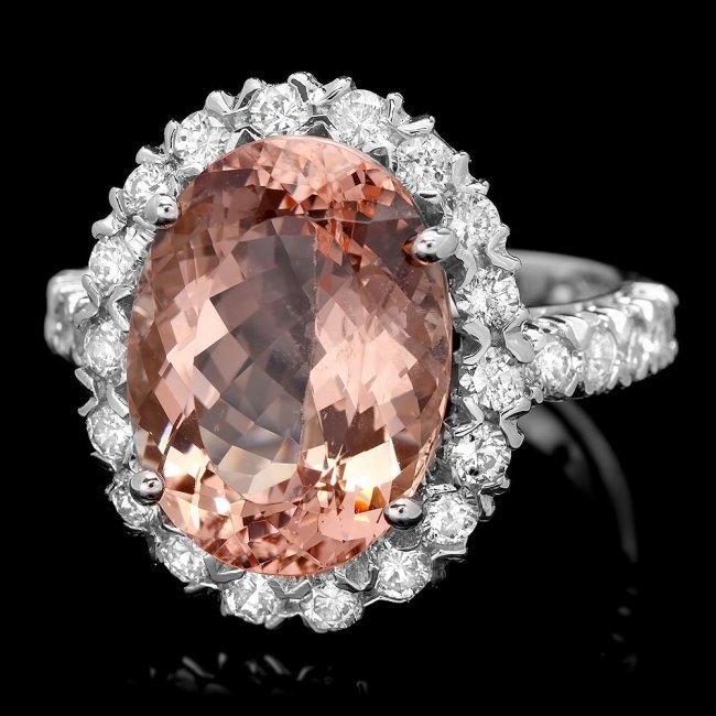 14k Gold 7.25ct Morganite 1.20ct Diamond Ring