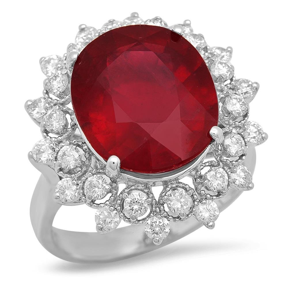 14K Gold 9.51ct Ruby 0.92cts Diamond Ring