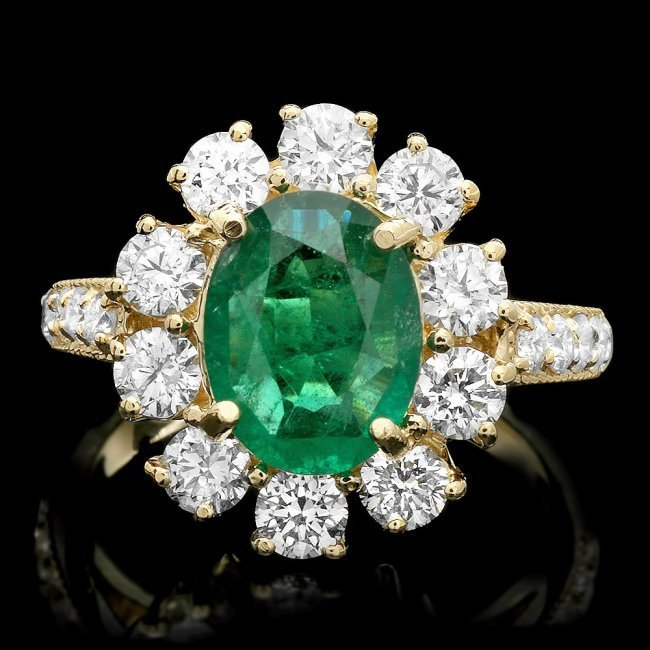 14k Gold 1.50ct Emerald 1.60ct Diamond Ring