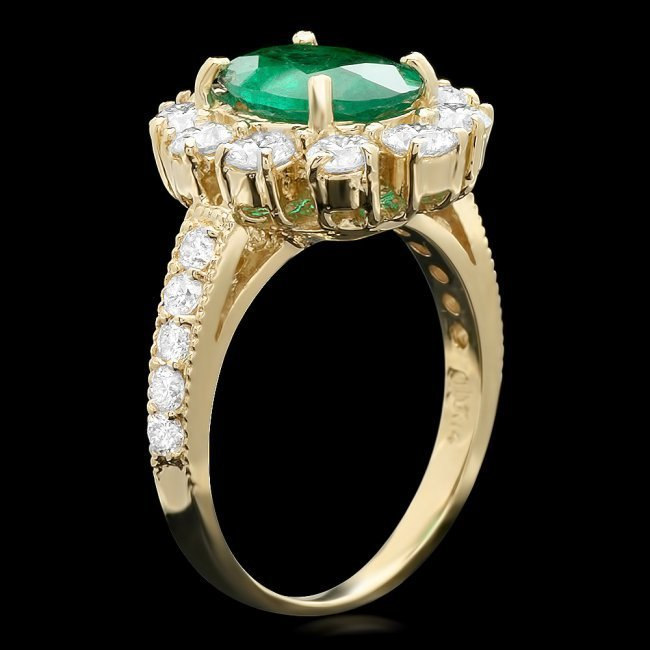 14k Gold 1.50ct Emerald 1.60ct Diamond Ring - 2