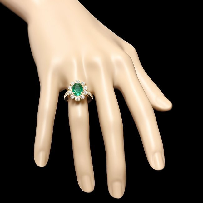 14k Gold 1.50ct Emerald 1.60ct Diamond Ring - 3