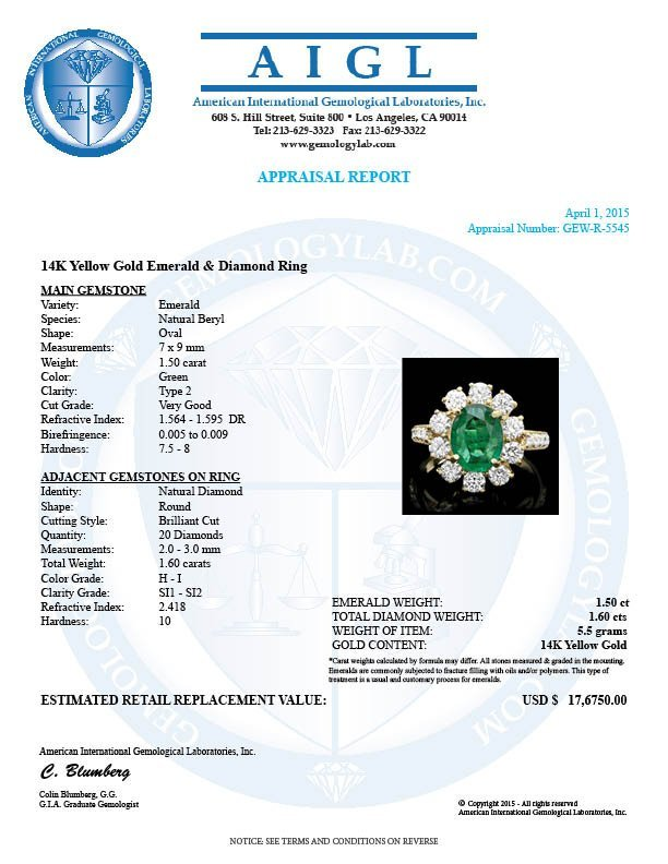 14k Gold 1.50ct Emerald 1.60ct Diamond Ring - 4