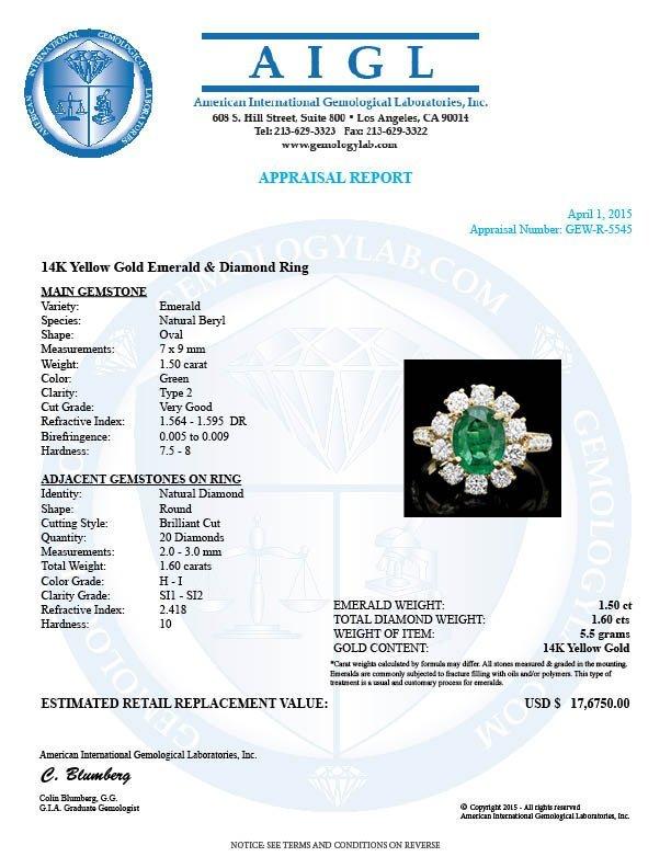 14k Gold 1.50ct Emerald 1.60ct Diamond Ring - 4