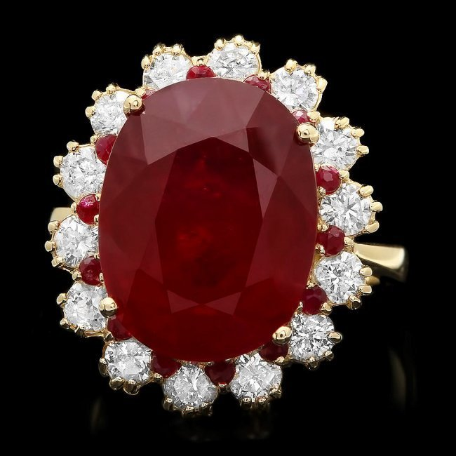 14k Yellow Gold 14.2ct Ruby 1.26ct Diamond Ring