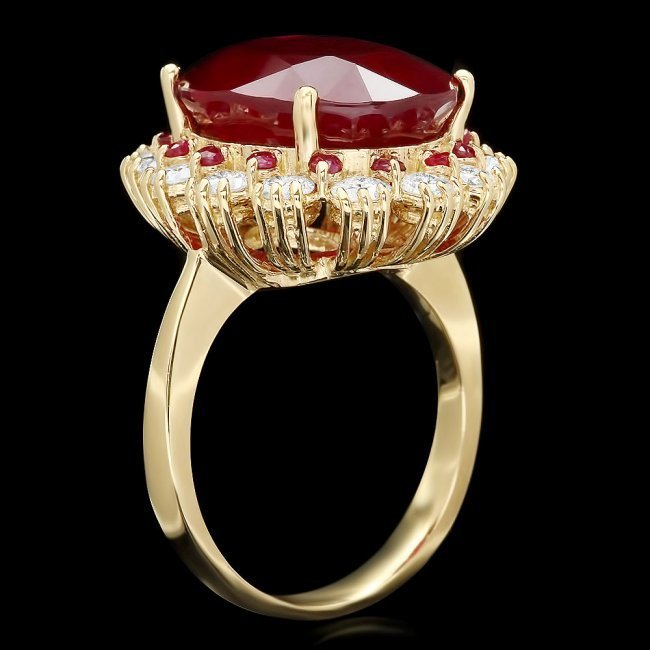 14k Yellow Gold 14.2ct Ruby 1.26ct Diamond Ring - 2