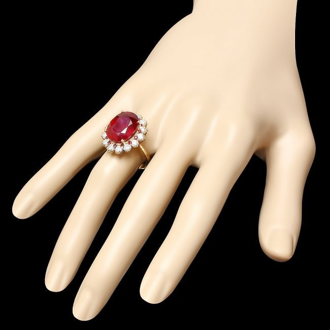 14k Yellow Gold 14.2ct Ruby 1.26ct Diamond Ring - 3