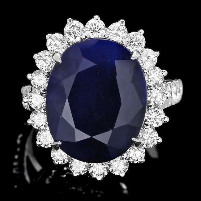 14k Gold 12.50ct Sapphire 1.60ct Diamond Ring