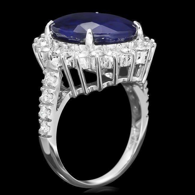 14k Gold 12.50ct Sapphire 1.60ct Diamond Ring - 3