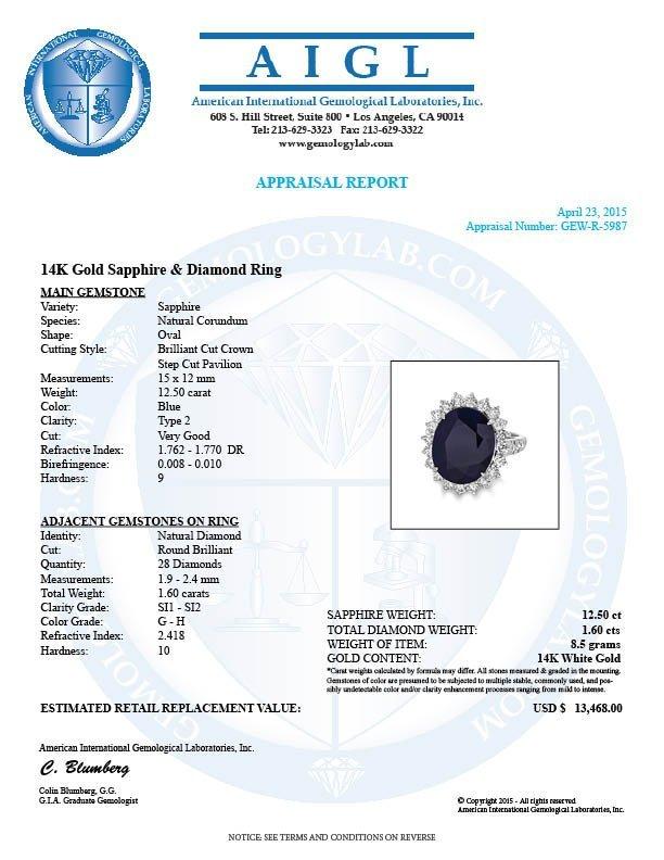 14k Gold 12.50ct Sapphire 1.60ct Diamond Ring - 5