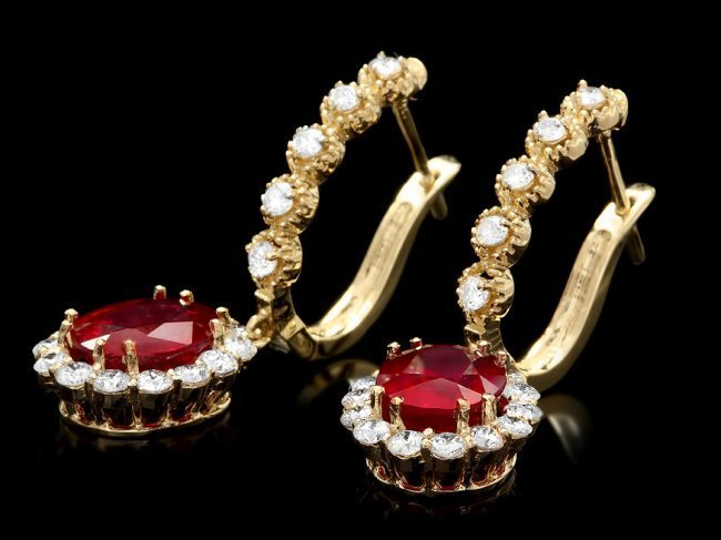 14k Gold 5.00ct Ruby 1.30ct Diamond Earrings - 2
