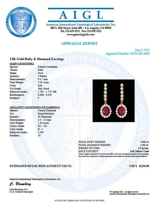 14k Gold 5.00ct Ruby 1.30ct Diamond Earrings - 3