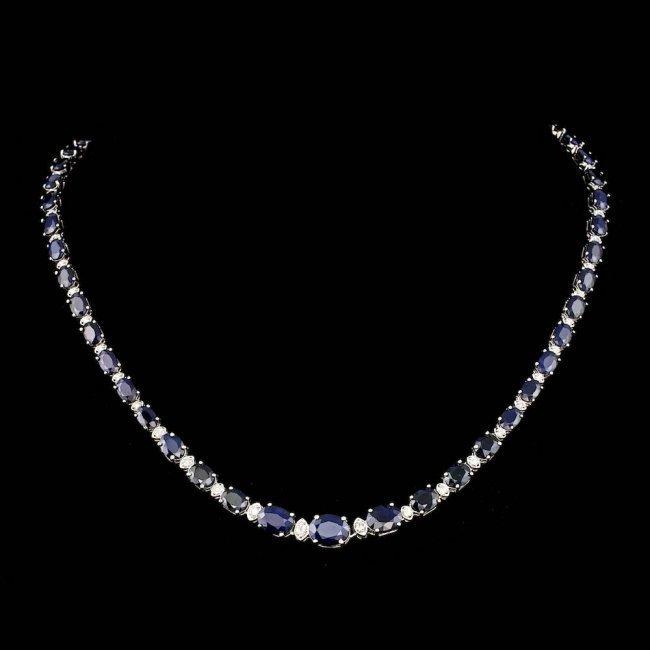 14k Gold 30.00ct Sapphire 1.25ct Diamond Necklace