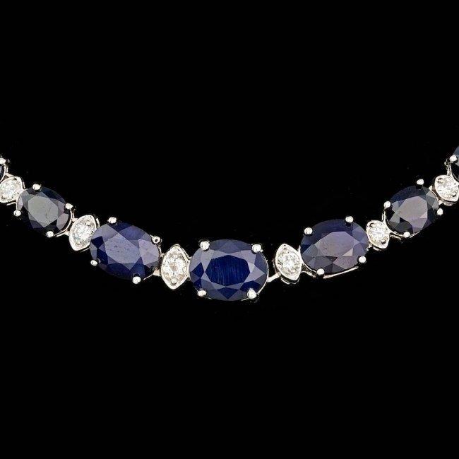 14k Gold 30.00ct Sapphire 1.25ct Diamond Necklace - 2
