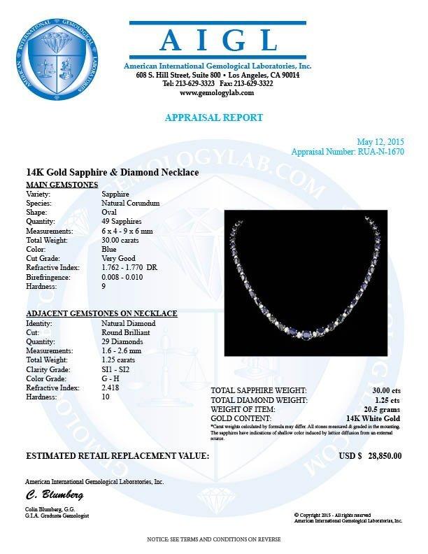 14k Gold 30.00ct Sapphire 1.25ct Diamond Necklace - 6