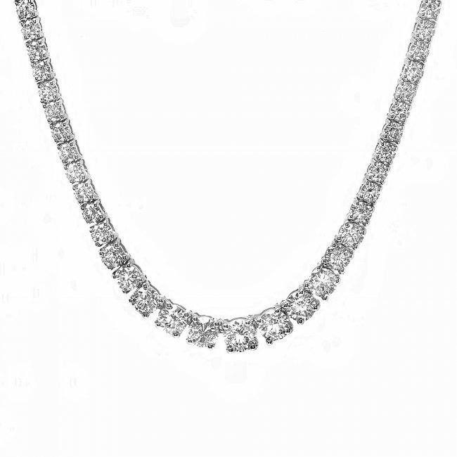 18k White Gold 5.80ct Diamond Necklace - 6