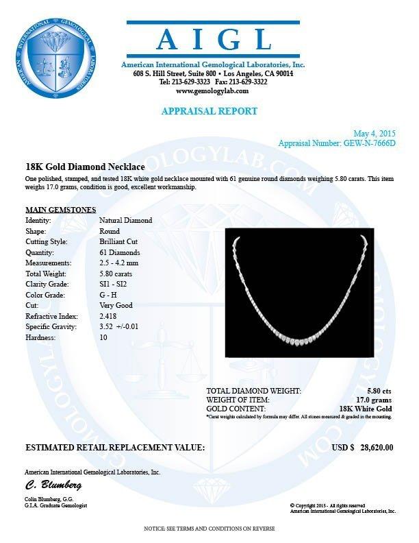 18k White Gold 5.80ct Diamond Necklace - 7