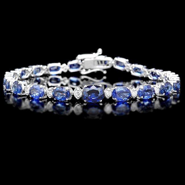 14k Gold 14ct Sapphire 0.65ct Diamond Bracelet
