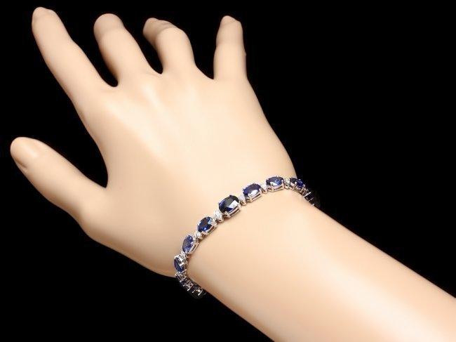 14k Gold 14ct Sapphire 0.65ct Diamond Bracelet - 5