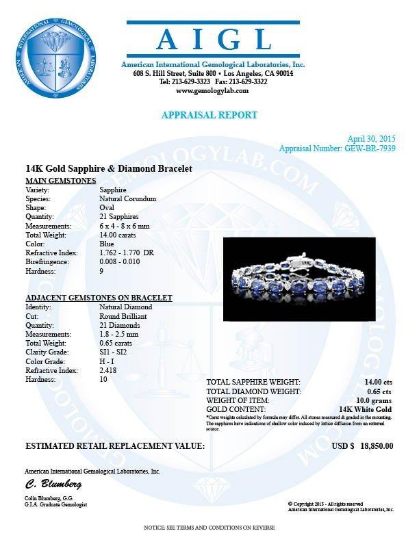 14k Gold 14ct Sapphire 0.65ct Diamond Bracelet - 6