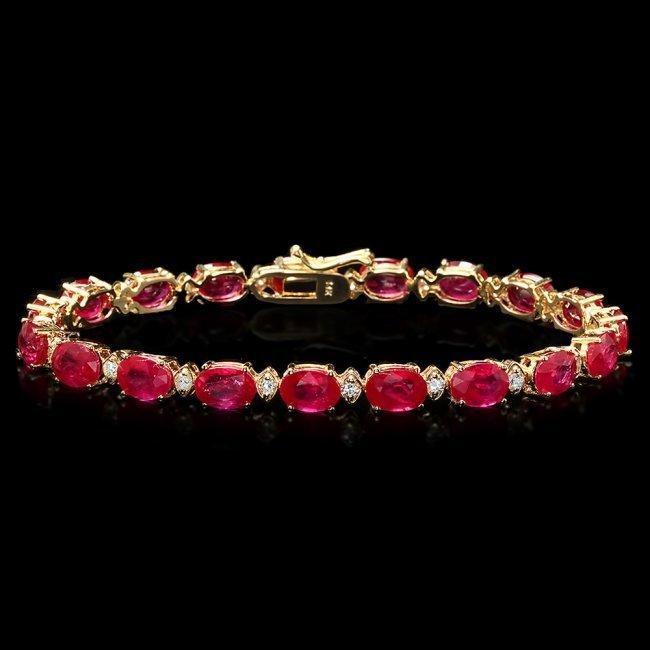 14k Gold 19.00ct Ruby 0.80ct Diamond Bracelet