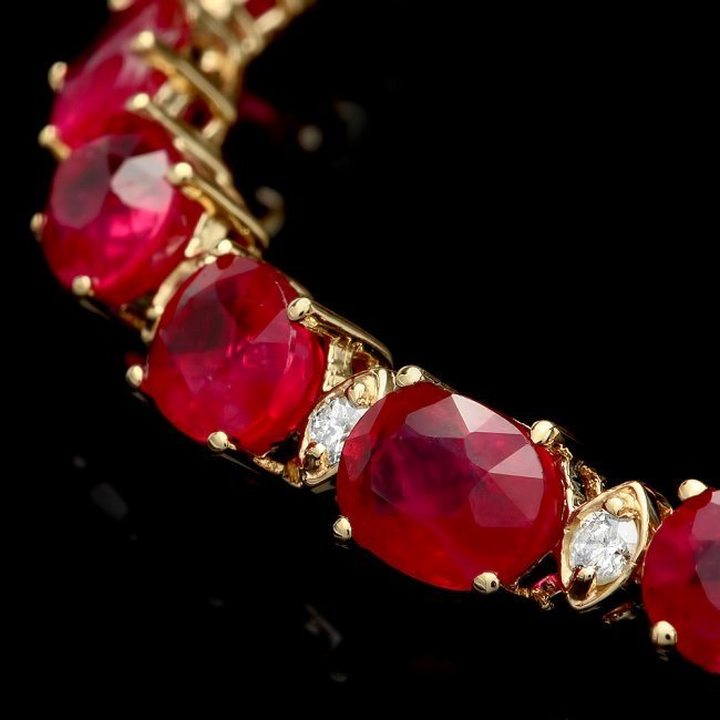 14k Gold 19.00ct Ruby 0.80ct Diamond Bracelet - 2