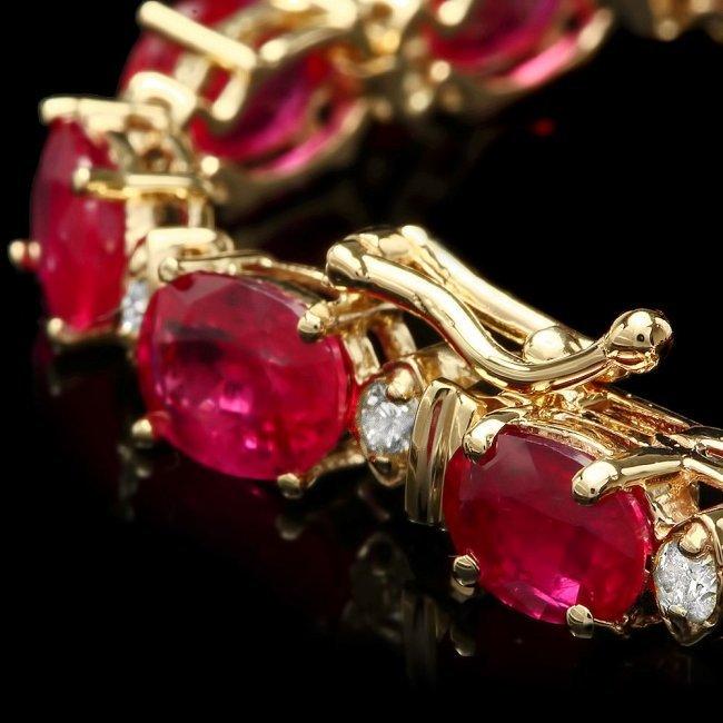 14k Gold 19.00ct Ruby 0.80ct Diamond Bracelet - 3