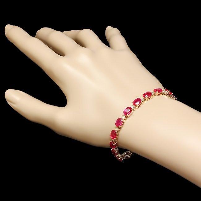 14k Gold 19.00ct Ruby 0.80ct Diamond Bracelet - 5