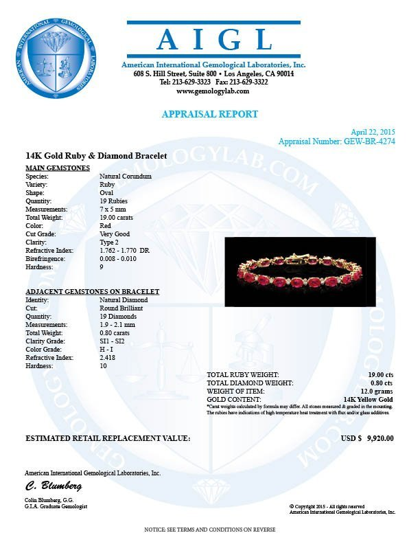 14k Gold 19.00ct Ruby 0.80ct Diamond Bracelet - 7